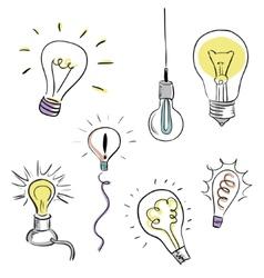 Light Bulb Set sketchy design vector image vector image