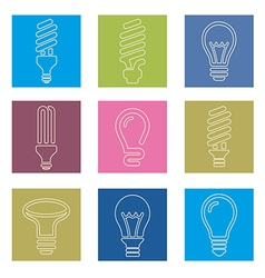 Light bulbs Bulb icon set vector image vector image