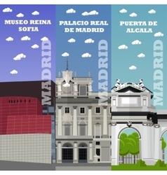 Madrid tourist landmark banners vector