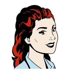 portrait woman red hair smiling pop art vector image