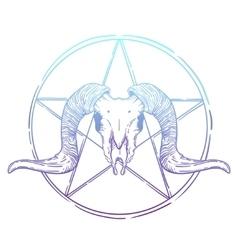 Ram skull occult symbol vector