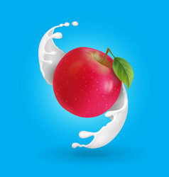 red apple and milk splash realistic vector image vector image