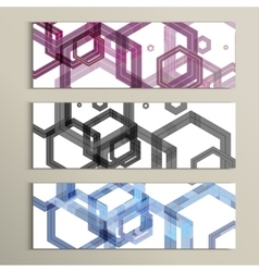 Set background of large colored hexagons vector image