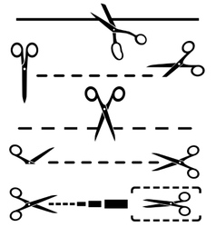 set black cut lines and many scissors silhouette vector image