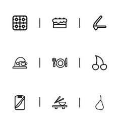 Set of 9 editable food outline icons includes vector