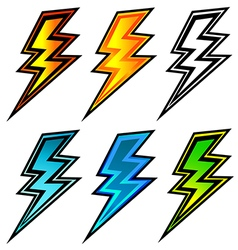 Set of colorful lightning bolts vector