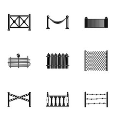 types of fence icons set simple style vector image vector image