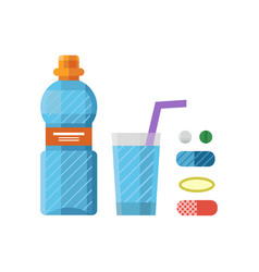 Water plastic sport bottle transparent mineral vector