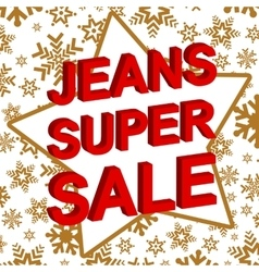 Winter sale poster with jeans super sale text vector