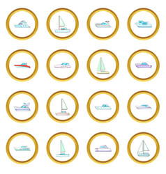 Yachts icons circle vector