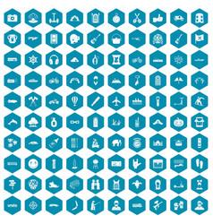 100 adventure icons sapphirine violet vector image vector image