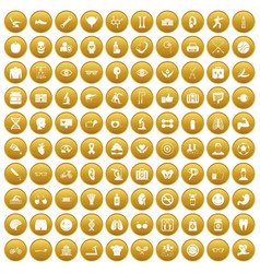 100 health icons set gold vector