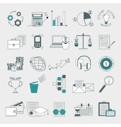 Web finance human resource management icons set vector