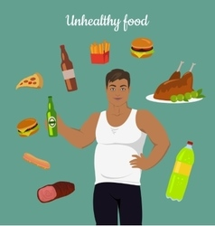 Junk food consumption man before weight loss vector