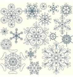 Stylized snowflakes collection vector image