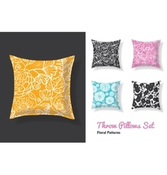 Set of throw pillows in matching unique floral vector