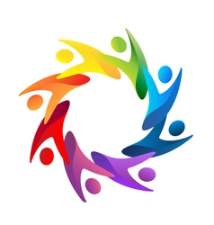 Teamwork people helping logo vector image
