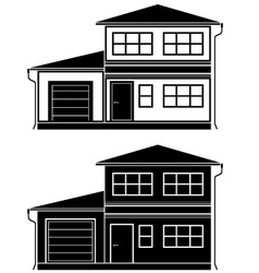Two icons of cottages vector