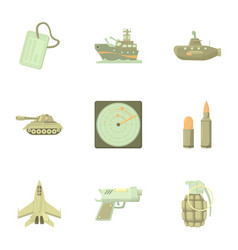 Weaponry icons set cartoon style vector
