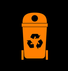 trashcan sign  orange icon on black vector image
