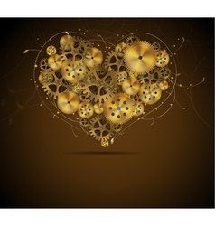 Abstract mechanical heart with floral elements vector