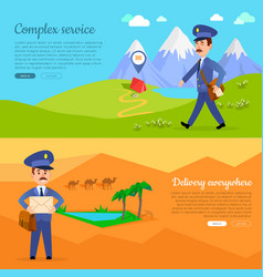 Complex service delivery anywhere web banner vector