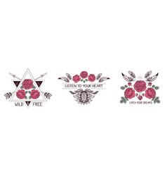 Set of hand drawn boho style design with rose vector