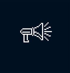 megaphone pixel icon isolated 8bit graphic vector image