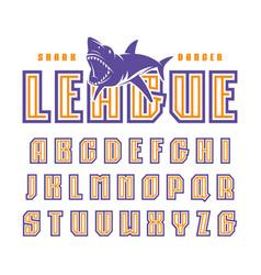 Double contour sanserif font in sport style vector
