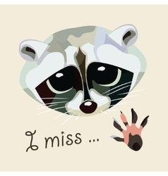 Card with a raccoon - i miss vector