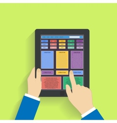 Flat design social media on a digital tablet vector image