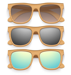 Set of vintage sunglasses with wooden frame retro vector