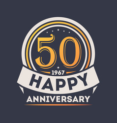 50th years happy anniversary celebration sign vector