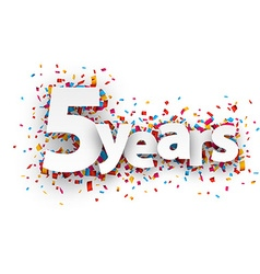 Five years paper confetti sign vector
