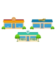 City store buildings set vector