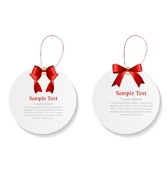 Sale labels set with red bow and ribbon vector