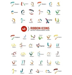 Line ribbon logo set vector