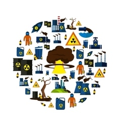 Environmental pollution icon set in circle vector