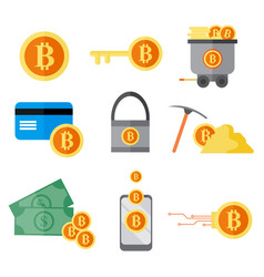 bitcoin digital investment graphic set vector image