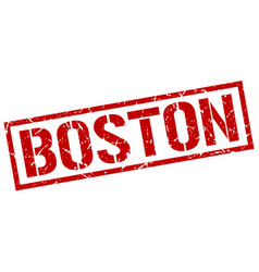 Boston red square stamp vector