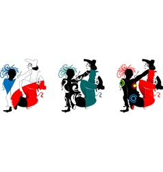Breakdance silhouette of a man in bright clothes vector