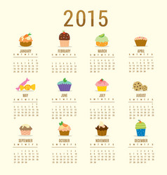 Calendar 2015 cupcake cartoon cute vector