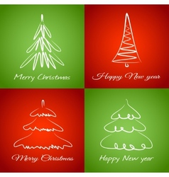 Cards with christmas trees vector