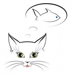 Cat and fish outlines vector