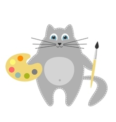 Cat artist holding brush and palette vector