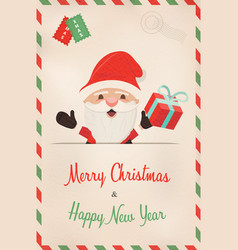 Christmas and new year retro santa claus postcard vector