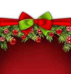 Christmas Banner with Bow Ribbon Fir Twigs vector image