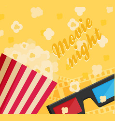Cinema icon in flat design style movie night text vector
