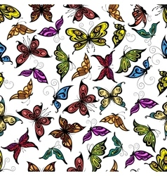 Colorful seamless flying butterflies pattern vector