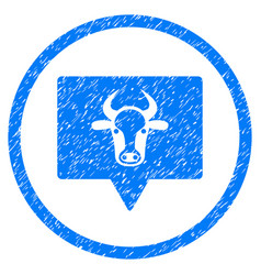 Cow banner rounded grainy icon vector